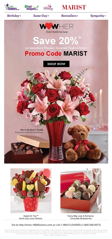 1-800-FLOWERS.COM Valentine's Day Discount